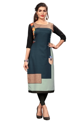Dark Green Color Digital Printed American Crepe Straight Kurti