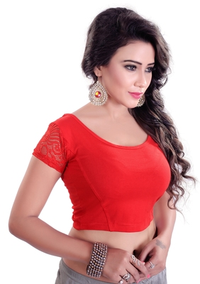 Red Lycra Stretchable Readymade Blouse for Women Short Sleeve