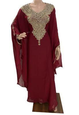 maroon georgette moroccan dubai kaftan farasha aari and stone work dress