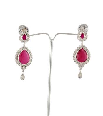 Sihiri Lavish CZ Pink Earrings