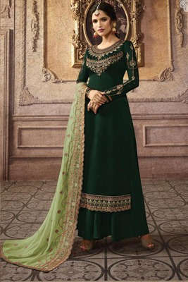 Dark Green Embroidered Faux Georgette Salwar