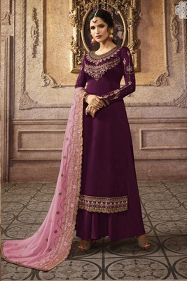 Dark-purple embroidered faux georgette salwar
