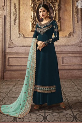 Teal Blue Embroidered Faux Georgette Salwar