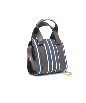Navy Blue Stripe Sling Bag with Handle