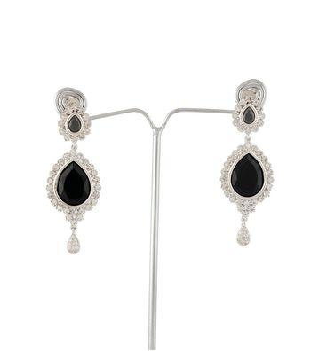 Sihiri Lavish CZ Black Earrings