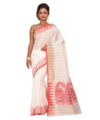 Women's White Embroidered Jamdani Handloom Cotton Blend Saree Without Blouse Piece