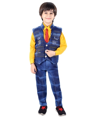 Yellow printed cotton silk boys-suit