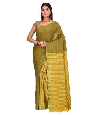 Women's Green Shantiniketani pure cotton khadi Cotton Saree With Blouse Piece