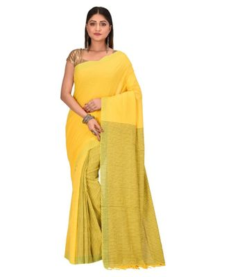 Women's Yellow Shantiniketani pure cotton khadi Cotton Saree With Blouse Piece