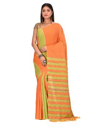 Women's Orange Shantiniketani pure cotton khesh Cotton Saree With Blouse Piece