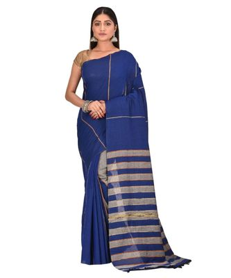 Women's Blue Shantiniketani pure cotton khesh Cotton Saree With Blouse Piece
