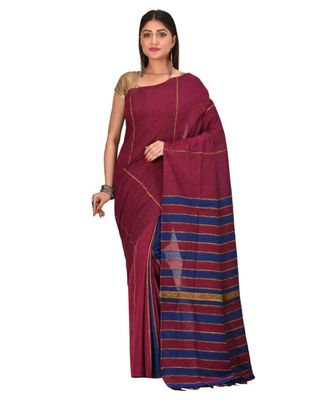 Women's Maroon Shantiniketani pure cotton khesh Cotton Saree With Blouse Piece