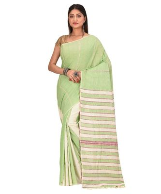 Women's green Shantiniketani pure cotton khesh Cotton Saree With Blouse Piece