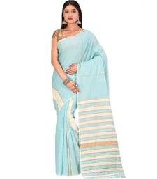 Women's Turquoise Shantiniketani pure cotton khesh Cotton Saree With Blouse Piece
