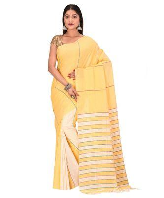 Women's Yellow Shantiniketani pure cotton khesh Cotton Saree With Blouse Piece