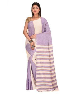 Women's Purple Shantiniketani pure cotton khesh Cotton Saree With Blouse Piece