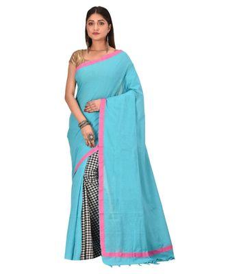 Women's Turquoise Shantiniketani pure cotton khesh Cotton Saree With Blouse Piece