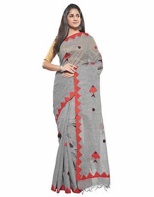 Black Handloom Dhaniyakhali Pure Cotton Saree Without Blouse Piece