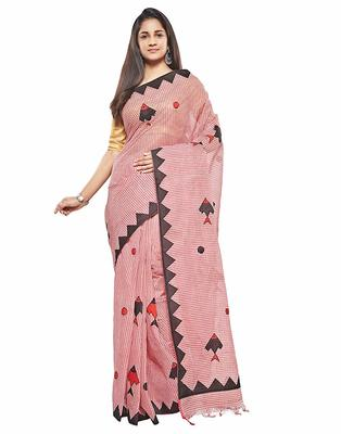 Red Handloom Dhaniyakhali Pure Cotton Saree Without Blouse Piece