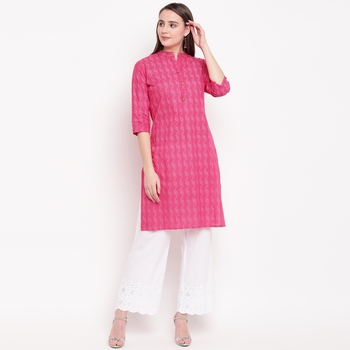 women's printed straight cotton pink kurti