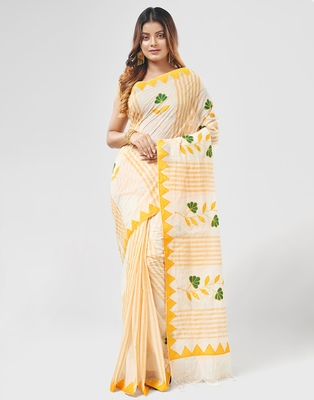 Yellow Handloom Dhaniyakhali Pure Cotton Saree Without Blouse Piece