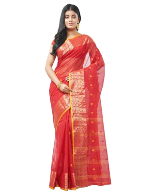 red Handloom Taant Pure Cotton Saree Without Blouse Piece