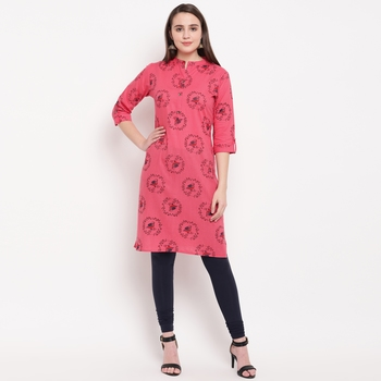 women's printed straight cotton pink kurti