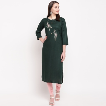 women's embroidered/solid straight rayon green kurti