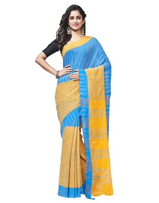 blue Handloom Taant Pure Cotton Saree Without Blouse Piece