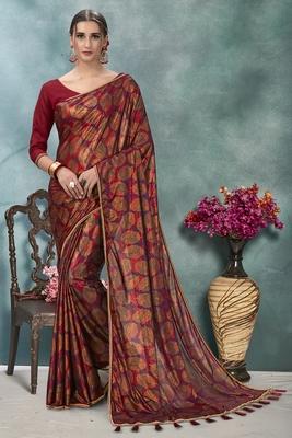 Purple plain silk saree with blouse