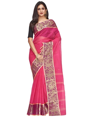 pink Handloom Taant Pure Cotton Saree Without Blouse Piece
