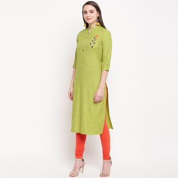 women's embellished/solid straight rayon parrot green kurti