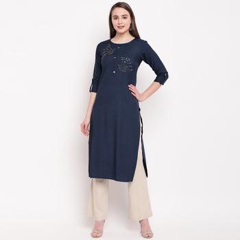 women's embellished/solid straight rayon blue kurti