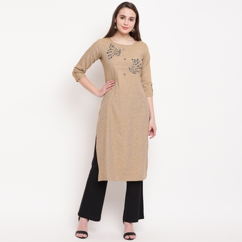 women's embellished/solid straight rayon cream kurti
