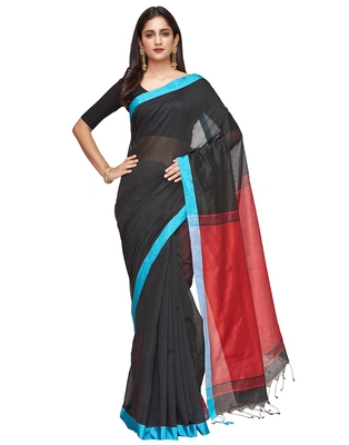black Handloom Taant Pure Cotton Saree With Blouse Piece