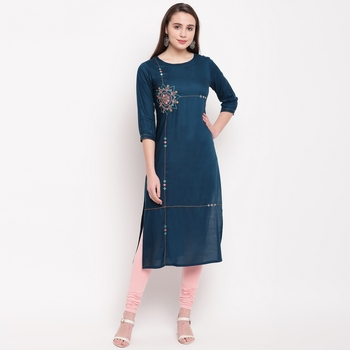 women's embroidered/solid straight rayon dark aqua kurti