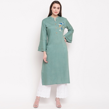 women's embroidered/solid straight rayon see green kurti