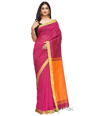 red Handloom Taant Pure Cotton Saree With Blouse Piece