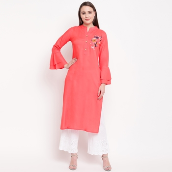 women's embroidered/solid straight rayon peach kurti