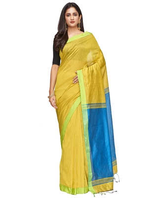 yellow Handloom Taant Pure Cotton Saree With Blouse Piece
