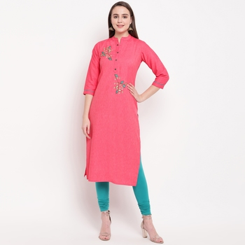 women's embellished/solid straight rayon pink kurti