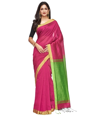 pink Handloom Taant Pure Cotton Saree With Blouse Piece