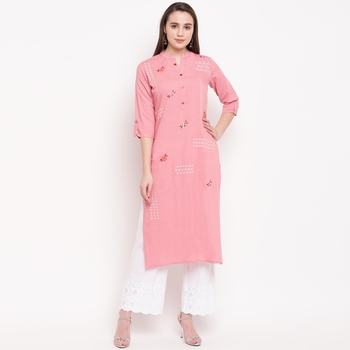 women's embroidered/solid straight rayon light pink kurti