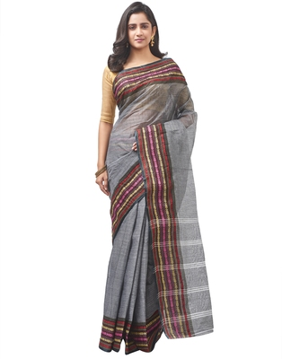 grey Handloom Taant Pure Cotton Saree Without Blouse Piece