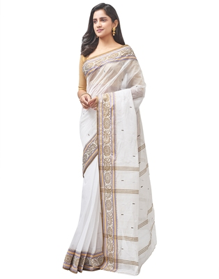 white Handloom Taant Pure Cotton Saree Without Blouse Piece