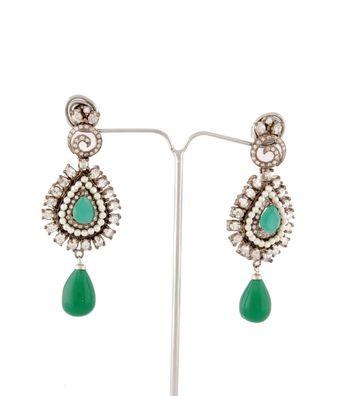 Sihiri Delightful Golden And Green Earrings