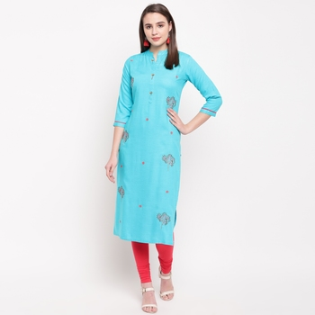 women's embroidered/solid straight rayon sky blue kurti