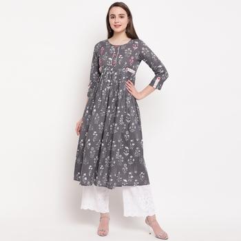 women's printed anarkali cotton grey kurti