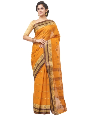 orange Handloom Taant Pure Cotton Saree Without Blouse Piece