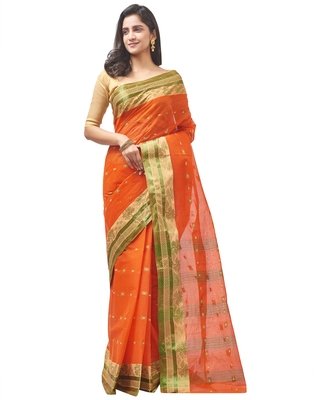 orange Handloom Taant Pure Cotton Saree Without Blouse Piece